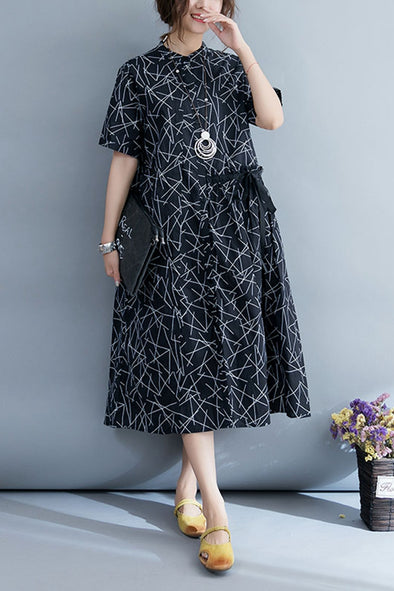 Fashion Black Maxi Dresses Women Loose Cotton Clothes Q4073