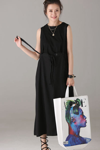 Casual Sleeveless Black Dresses Women Cotton Clothes Q6706