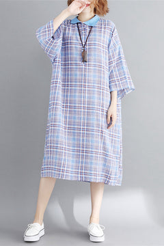 Vintage Loose Plaid Dresses Women Cotton Linen Outfits Q1870
