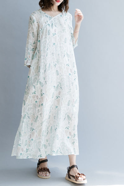 Elegant White Floral Maxi Dresses Linen Clothes For Women Q1262