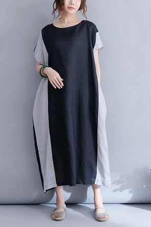 Summer Loose Black Maxi Dresses Women Linen Clothes Q4071