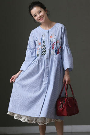 Blue Striped Floral Plus Size Women Long Shirt Dress Q665 - FantasyLinen