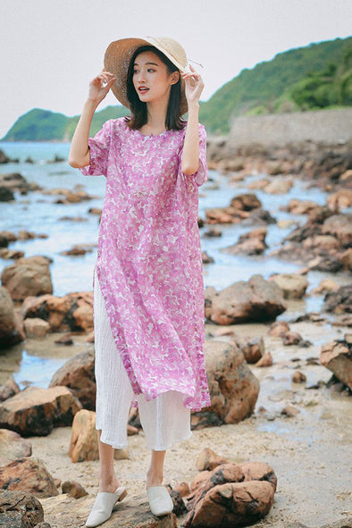 Cute Pink Print Linen Dresses Women Fashion Outfits Q7080