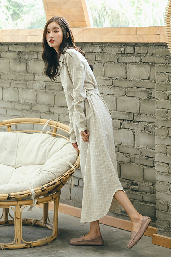 Casual Plaid Cotton Linen Maxi Dresses Women Fall Clothes Q1890