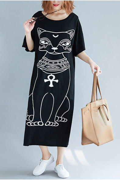 Summer Black Long Shirt Dresses Women Loose Clothes Q6087