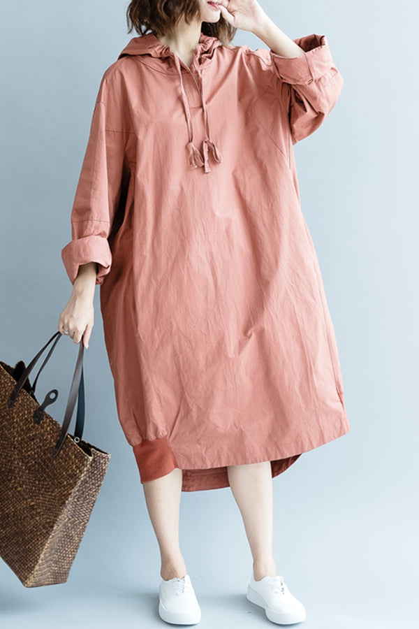 Casual Hoodie Cotton Dresses Women Fall Outfits Q2080