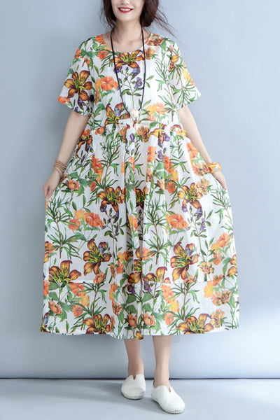 Casual Round Neck Floral Linen Long Dress Q1555