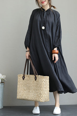 Fall Black Linen Maxi Dresses Women Casual Clothes Q1330