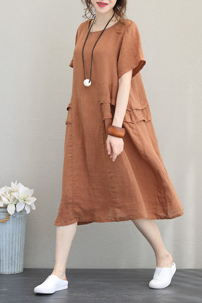 Casual Simple Linen Dresses For Women Q1218