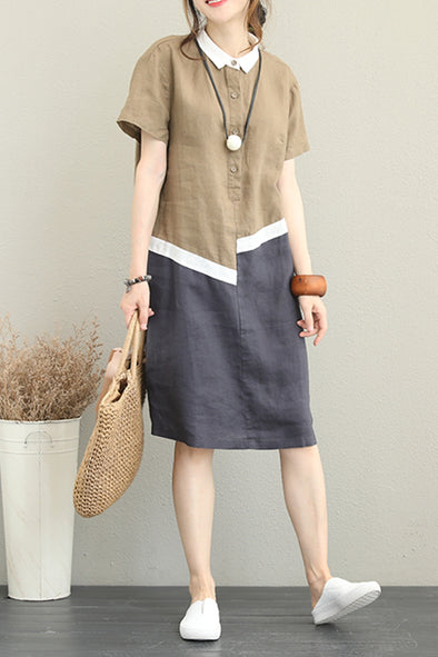 Vintage Loose Quilted Linen Dresses Women Casual Clothes Q1251