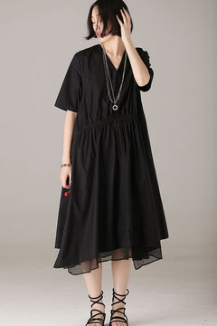 Summer Loose Black Dresses Women Fashion Outfits Q8386