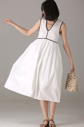 Fashion Sleeveless White Long Dresses Women Casual Clothes Q0082