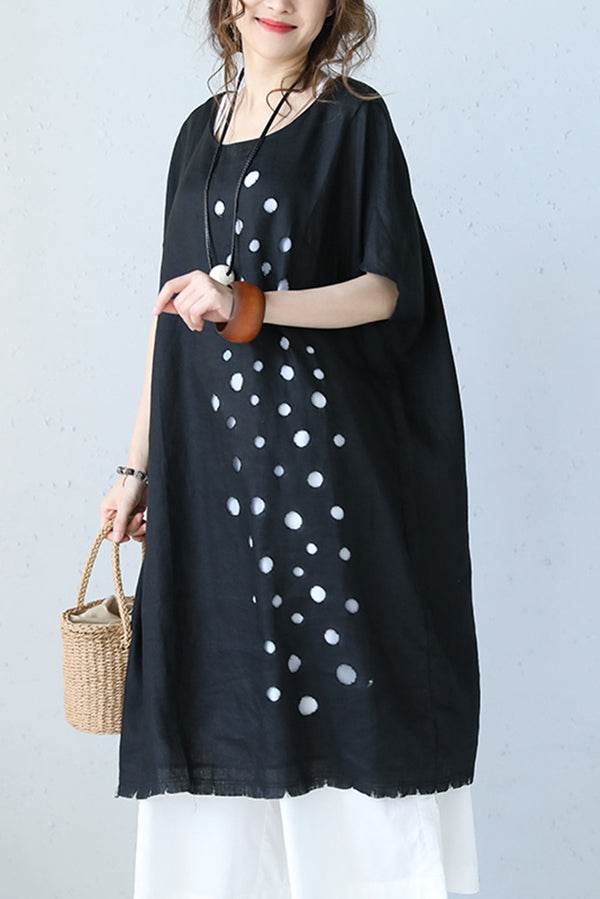 Cute Loose Linen Holey Black Dress Women Long Clothes Q1090