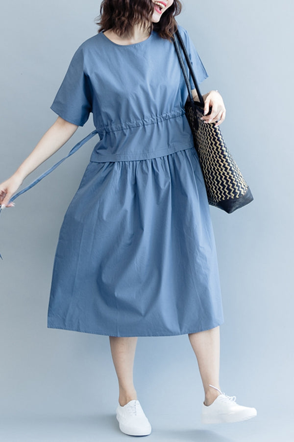 Summer Blue Maxi Dresses Women Cotton Clothes Q2076