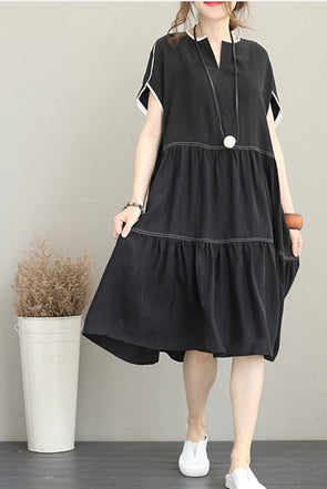Summer Casual Black Long Dresses Women Loose Clothes Q1175