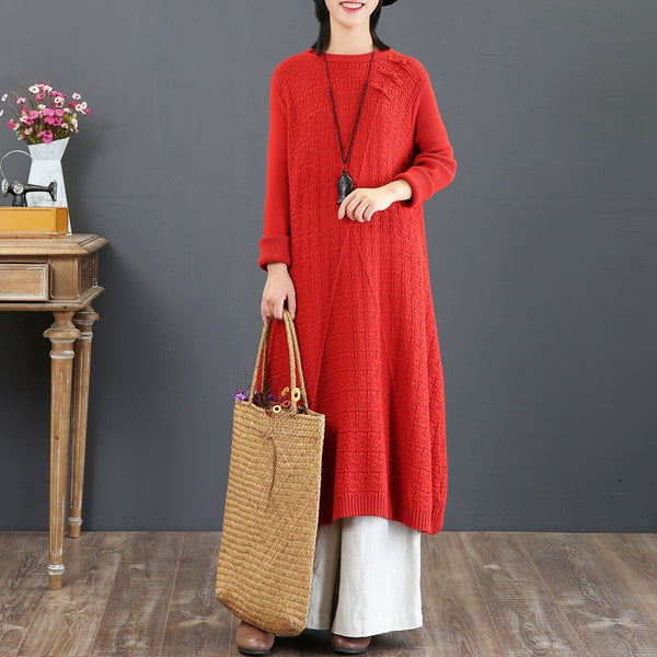 Vintage Women Cotton Casual Sweater Dresses For Winter 5789
