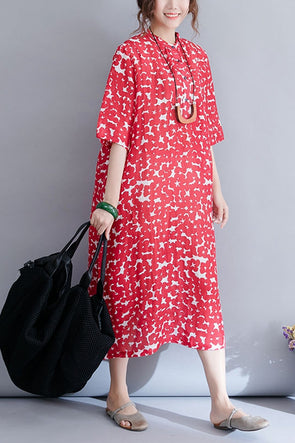 Fashion Red Floral Maxi Dresses Women Casual Clothes Q3077