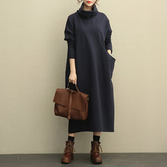 Women Casual High Neck Thicken Knitted Winter Maxi Dresses 208