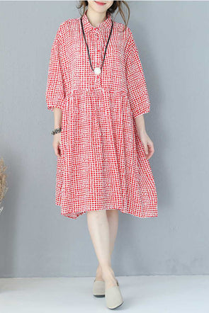 Women Summer Plaid Loose Long Dress Casual Clothes Q931