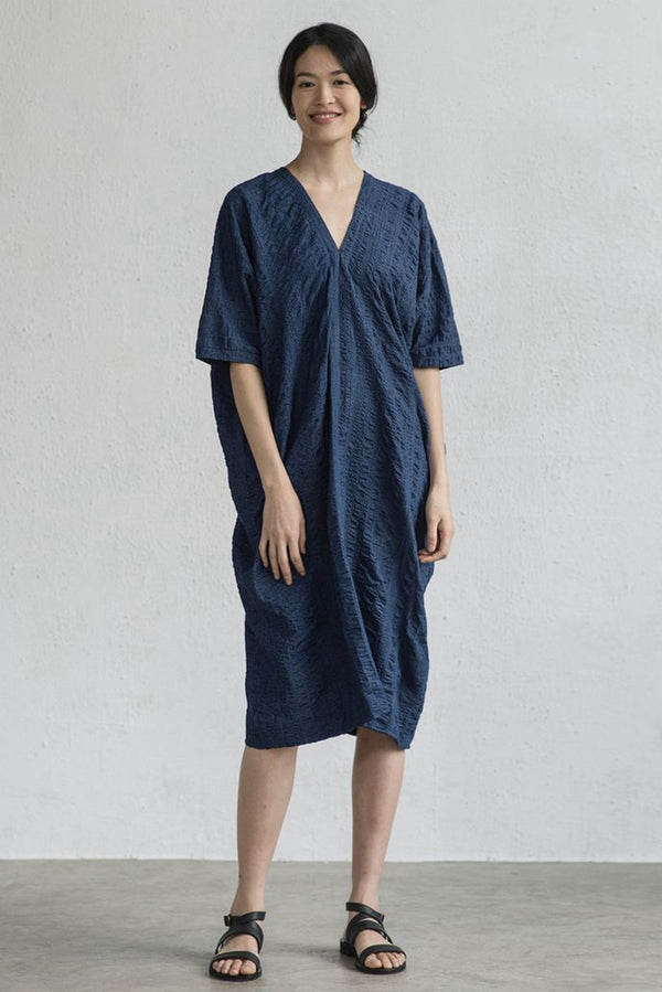 V Neck Art Blue Cotton Long Dress LT Design L1453