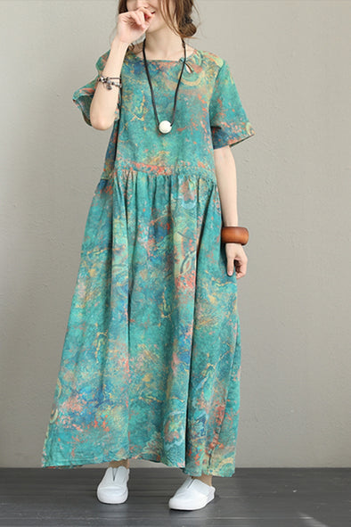 Vintage Green Print Maxi Dresses Women 100% Linen Clothes Q1227