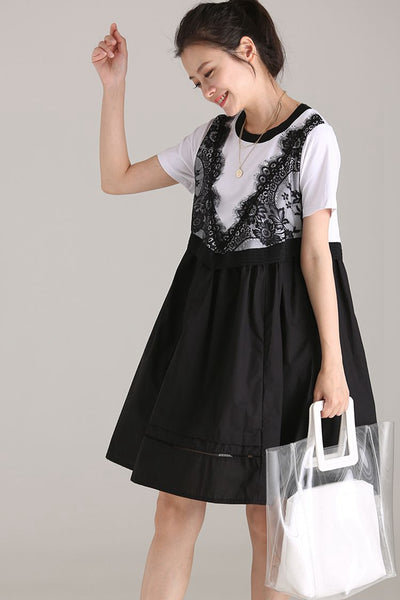 Cute Lace Quilted Loose Dresses Women Cotton Clothing Q1883