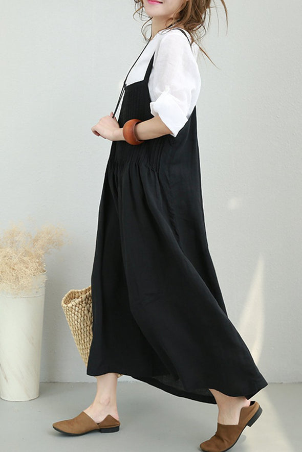 Women Summer Strap Linen Long Dress Casual Clothes 877