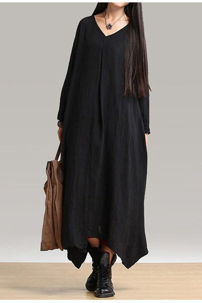 Fall Plus Size Maxi Black Linen Dress Q1656