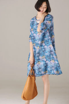 Fashion Blue Floral Dresses Cute Outfit For Women Q8366
