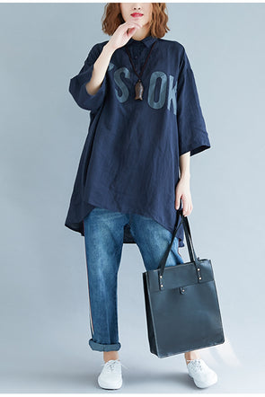 Loose Letter Print Blue T Shirt Women Casual Tops S7082