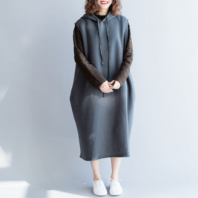 Winter Hoodie Sleeveless Brushed Cotton Dresses For Women Q2316