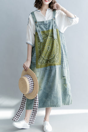 Loose Print Blue Denim Sundresses Women Casual Clothes Q1265