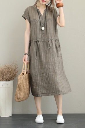 Casual Summer Cotton Linen Dresses For Women Q1252