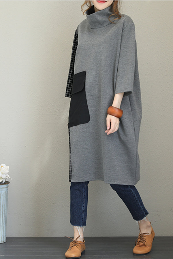 Fall Loose High Neck Cotton Dresses For Women Q1558