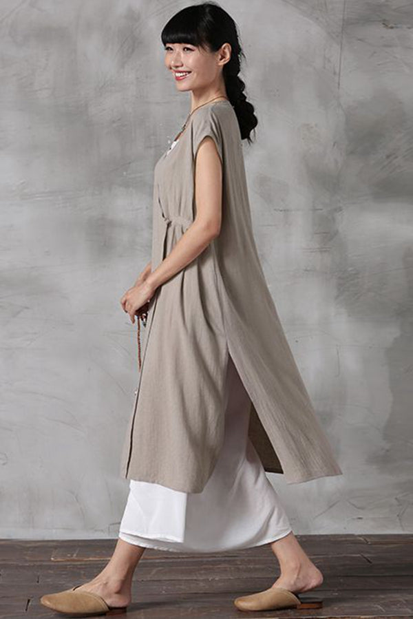 Chinese Style Sleeveless Thin Long Shirt Dress Q7056 - FantasyLinen