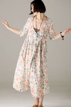 Summer Cute Beige Maxi Dresses Women Cotton Linen Outfits Q1027