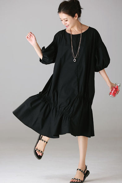 Cute Puff Sleeve Dresses Women Casual Clothes Q1837