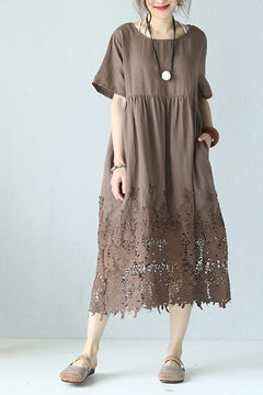 Loose Round Neck Lace Linen Quilted Long Dress Q9901