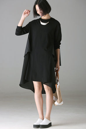 Fashion Loose Quilted Black Dresses Women Fall Clothes Q8601