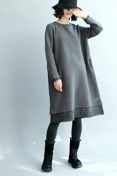 Fashion Thicken Gray Cotton Linen Dresses For Women Q2495