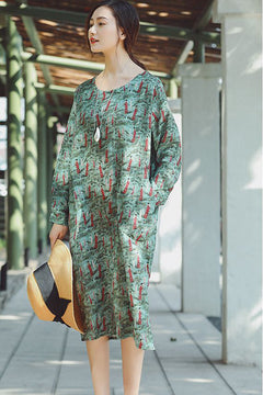 Elegant Green Print Linen Dresses Women Casual Clothes Q2164