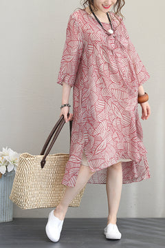 Fashion Red Long Dresses Women Linen Clothes Q1198