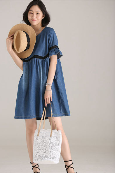 Casual Quilted Thin Cotton Denim Dress Women Blue Clothes Q9981 - FantasyLinen