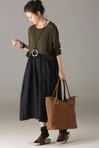 Loose Cotton Maxi Dresses Women Casual Outfits For Autumn Q8602