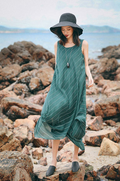 Loose Green Linen Maxi Sundresses Women Fashion Outfits Q7083