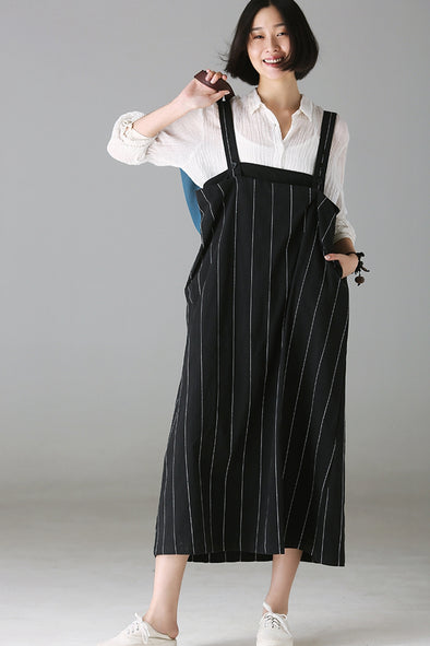 Casual Black Striped Cotton Strap Dresses Women Fall Outfits Q2177