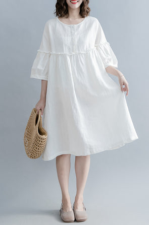 Cute High Waist Cotton Linen Dresses Women Casual Clothes Q1862