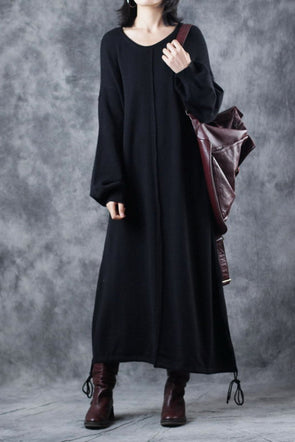 Vintage Black Loose Maxi Base Knitted Sweater Dresses For Women Q2913