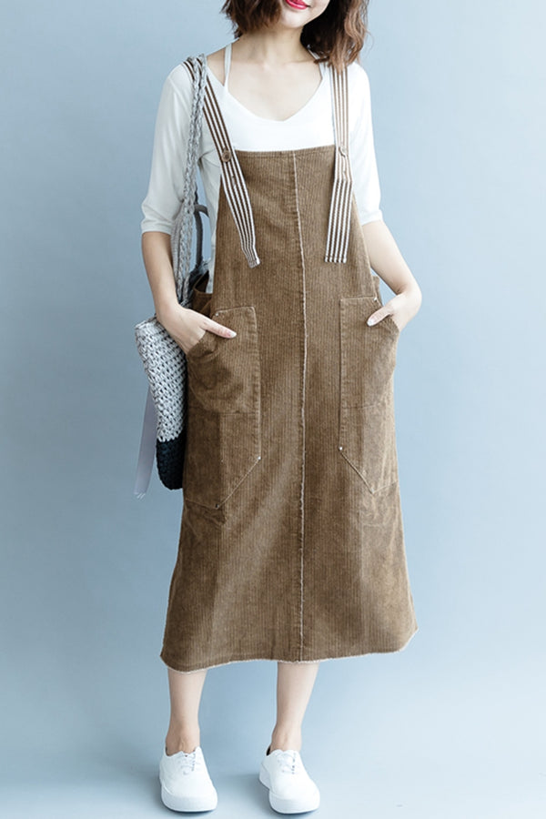 Fashion Coffee Corduroy Dresses Women Autumn Outfits Q2087