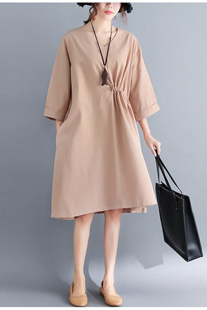 Fashion Khaki Simple Dresses Women Cotton Outfits Q6082